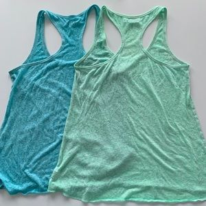 AE racerback tank set blue + green